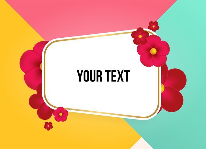 Caixa de texto com lindas flores coloridas. Ilustração vetorial
