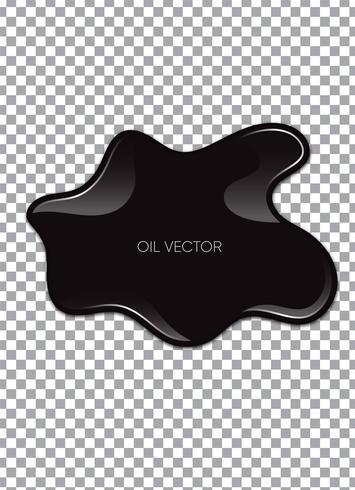Aceite negro realista aislado en el fondo transparente. Ilustracion vectorial