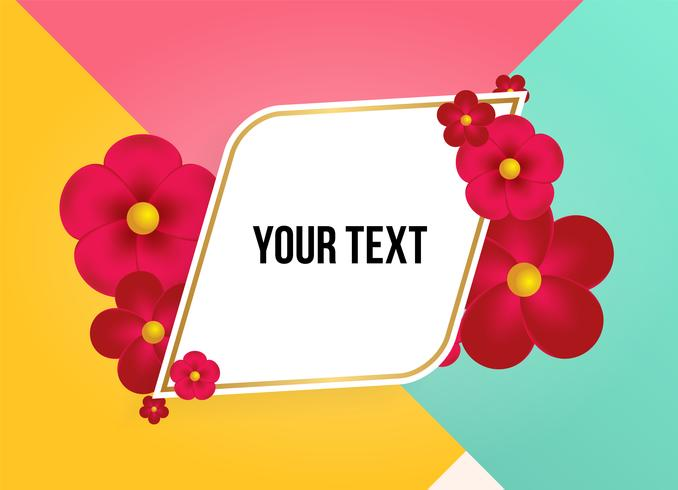 Tekstvak met prachtige kleurrijke bloemen. Vector illustratie
