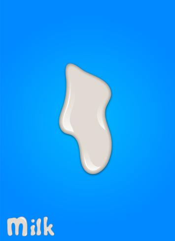 Gota de leche realista, salpicaduras, líquido aislado sobre fondo azul. ilustración vectorial