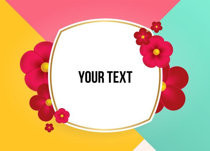 Cuadro de texto con hermosas flores de colores. Ilustracion vectorial