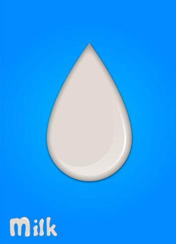 Realistische melkdaling, plonsen, vloeistof geïsoleerd op blauwe achtergrond. vectorillustratie
