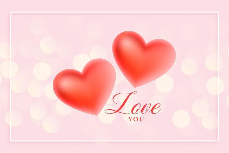 schöne Herzen der Liebe 3d auf rosa Bokeh Hintergrund