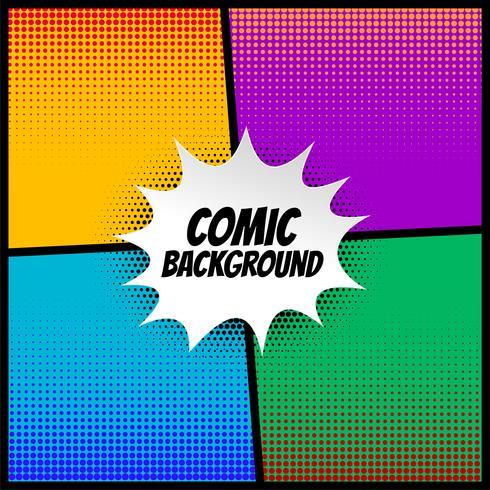komische halftone achtergrond in verschillende kleuren