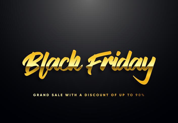 Black Friday-Goldbuchstaben-Vektorillustration