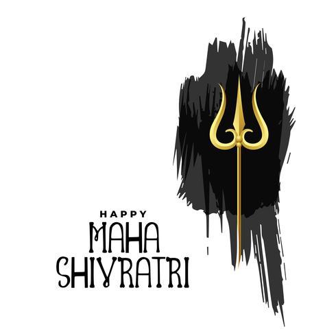 felice maha shivratri signore shiva trishul sulla pennellata acquerello