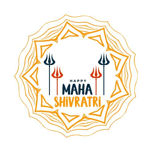glücklich maha shivratri dekorativer gruß mit trishul und mandala art