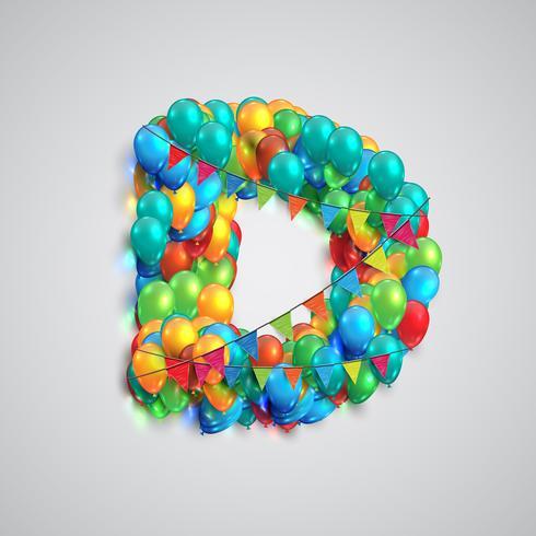 Färgrik typsnitt gjord av ballonger, vektor