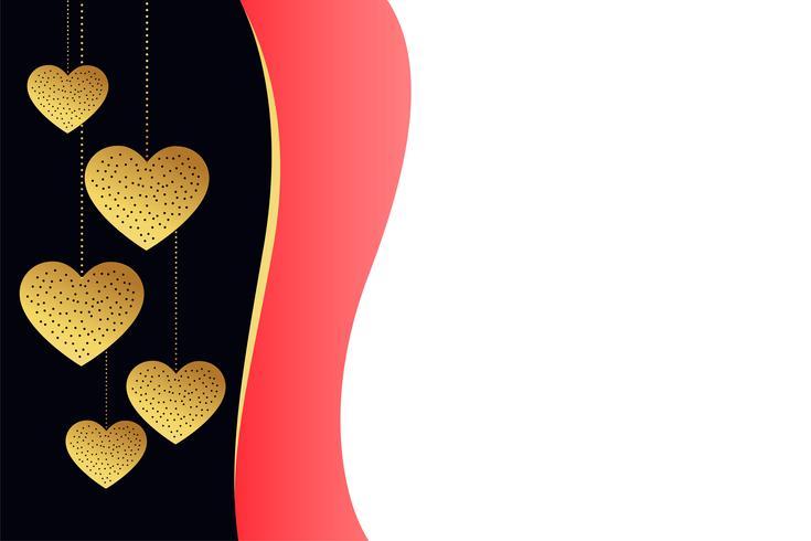 Fondo elegante de corazones de oro con espacio de texto