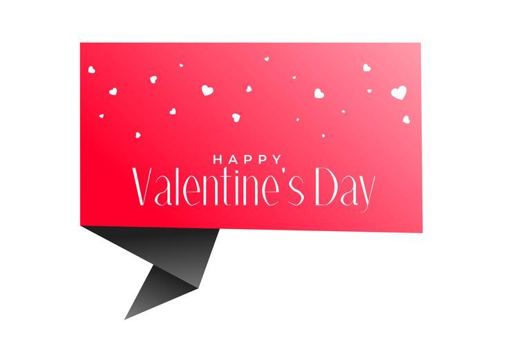Valentinstag Origami Chat Blase und Herz Hintergrund