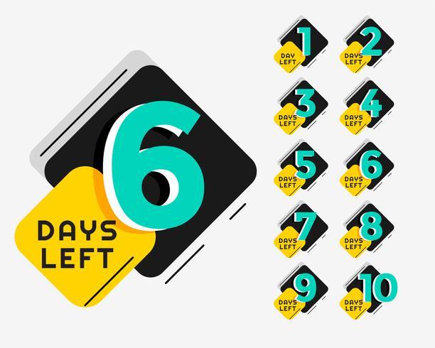 Número de días de diseño de banner promocional de memphis style