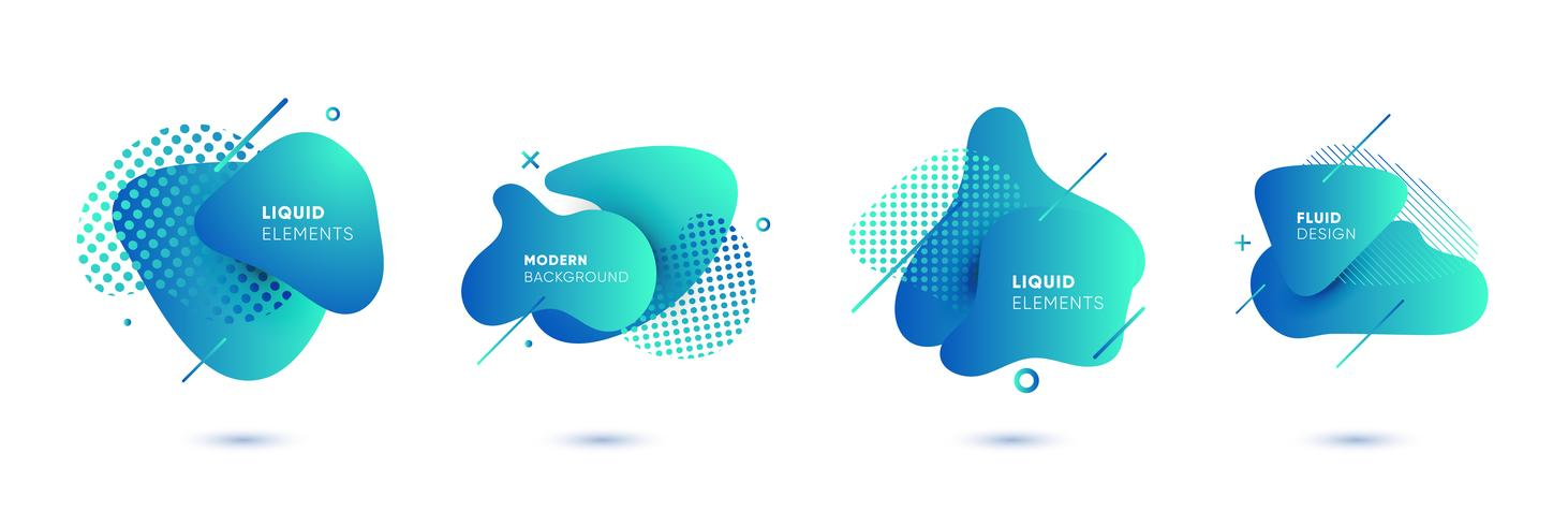 Dynamical colored graphic elements. Gradient abstract banners with flowing liquid shapes. Template for the design of a logo, poster or presentation. Vector illustration.