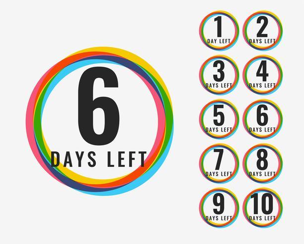 numero di giorni lasciato design colorato simbolo