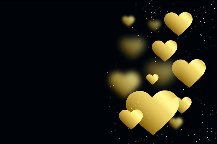 corazones de oro sobre fondo negro