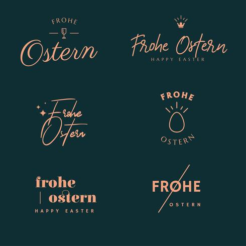 Frohe Ostern Typografi Pack