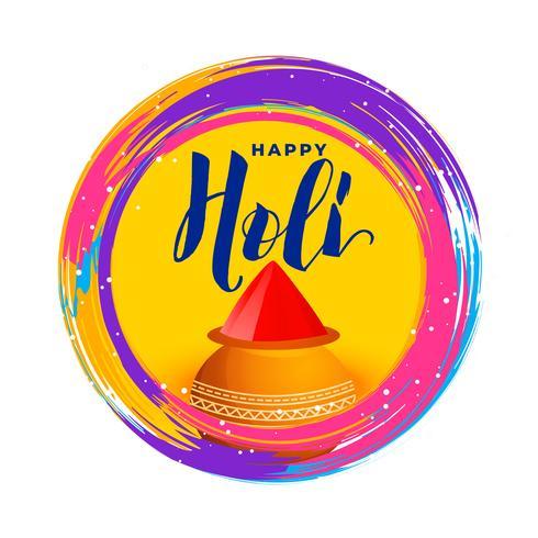 Ilustración colorida de holi feliz con el tazón de fuente gulal (color polvo)