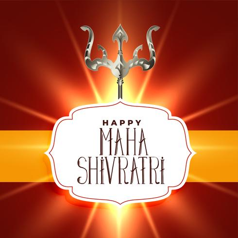 Señor Shiva Trishul sobre fondo brillante de Shivratri