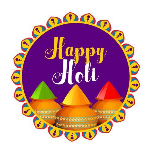 feliz celebración de holi con un tazón de gulal (color polvo) coloful