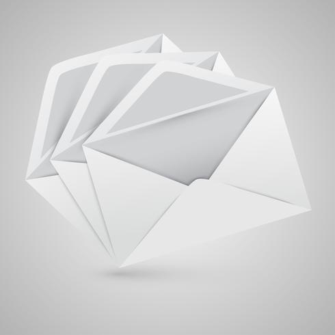 Realistische geopende enveloppen, vectorillustratie