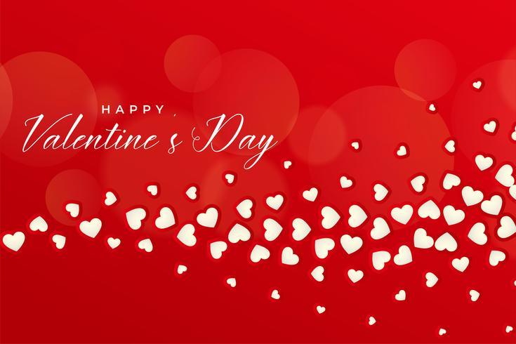 bella priorità bassa rossa di giorno dei biglietti di S. Valentino con i cuori di galleggiamento