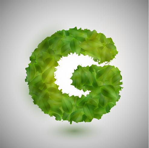 Une lettre faite de feuilles, vector