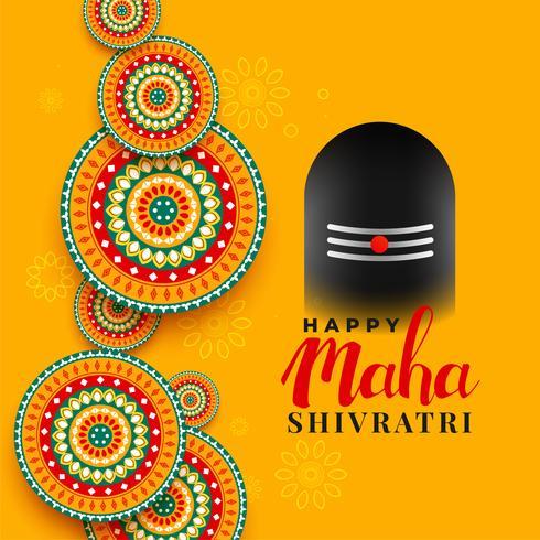 cumprimento do festival do shivratri do maha com ilustração shivling