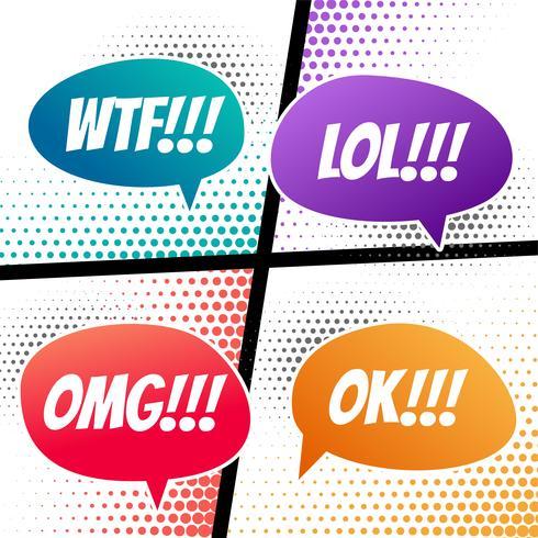 komische sprechdialoge blasen in verschiedenen farben