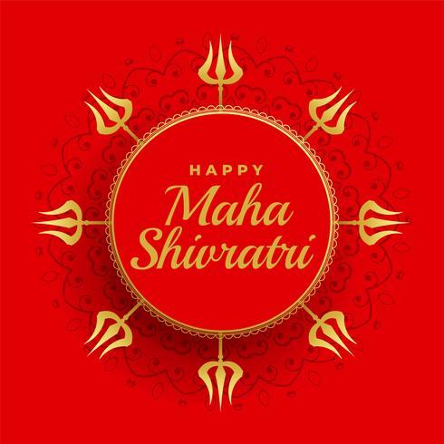 Felice Maha Shivratri Sfondo Rosso Con Decorazione Trishul Scarica