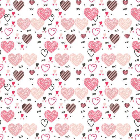 valentin hjärtan vektor mönster