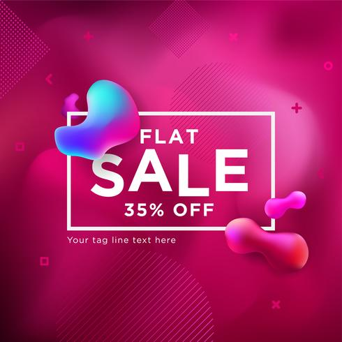 Sale Banner Liquefy Fluid Color background vector
