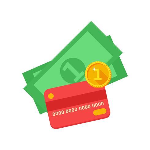 Tarjeta bancaria roja y efectivo. vector