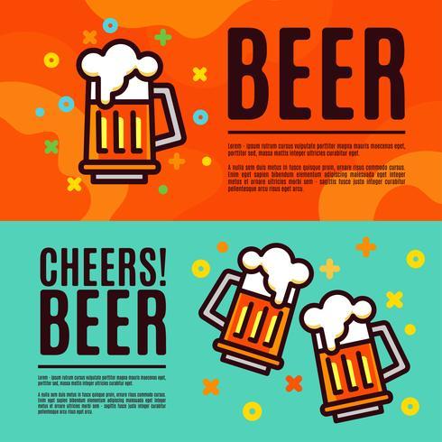 Beer in glass mugs. Set Banner vector
