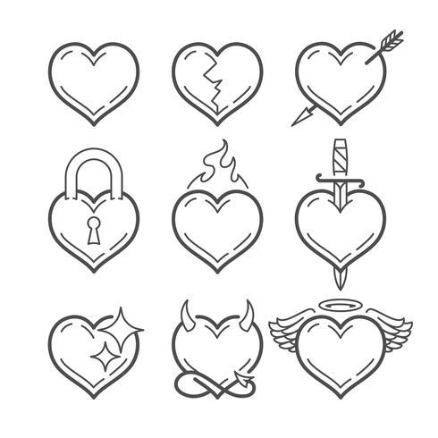 Conjunto de línea arte vector corazones