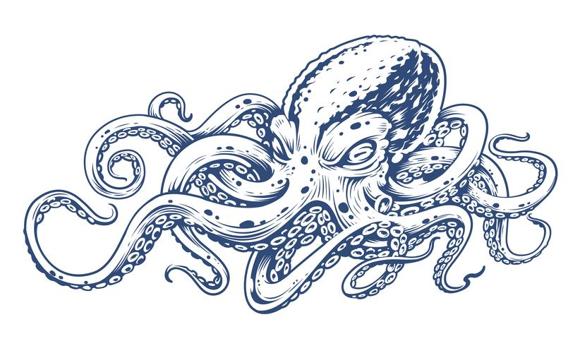 Pulpo Vintage Vector Art
