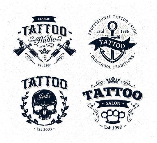Emblèmes de studio de tatouage vecteur