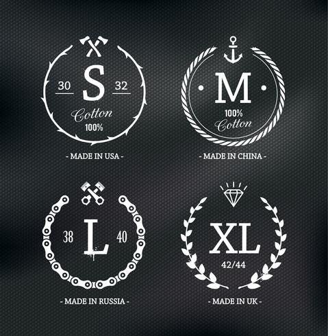 Emblemas de tamanho de desgaste vetor