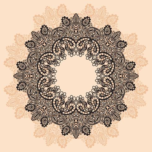 Ornement rond en dentelle avec Mandala vecteur