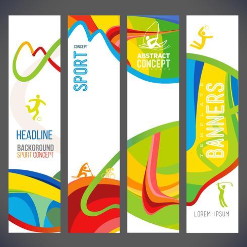 La composición del vector de una ola de bandas con diferentes colores se entrelazan, incluidos los símbolos deportivos.