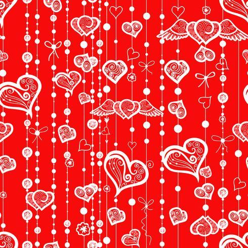 Naadloze patronen van vintage harten en lijnen met stippen.