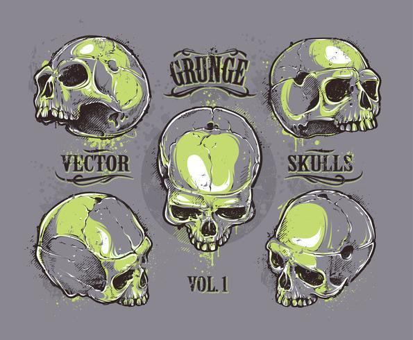 Conjunto de vectores cráneos Grunge