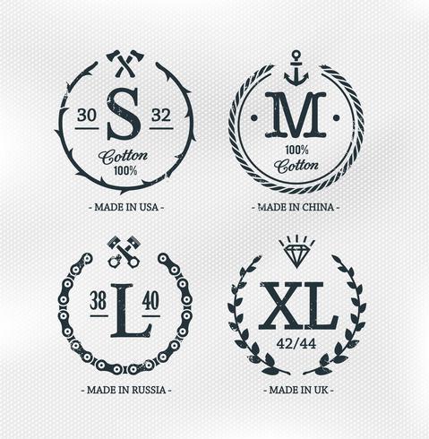 Modèles d'emblèmes de taille