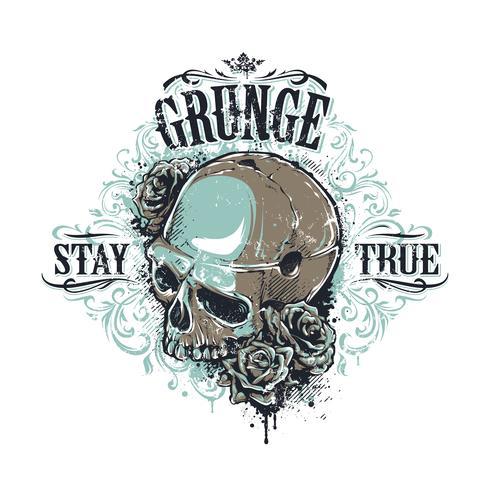 Estampado de cráneo de grunge vector