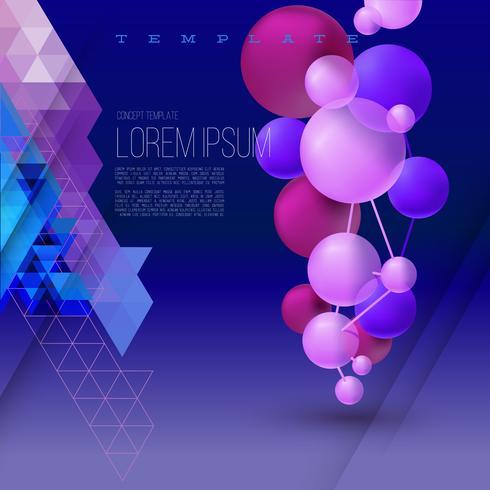 Abstracte geometrische compositie met driedimensionale ballen op de achtergrond