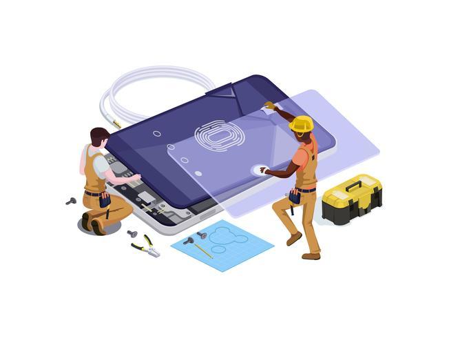 Vector persone sotto forma di un servizio di riparazione del telefono
