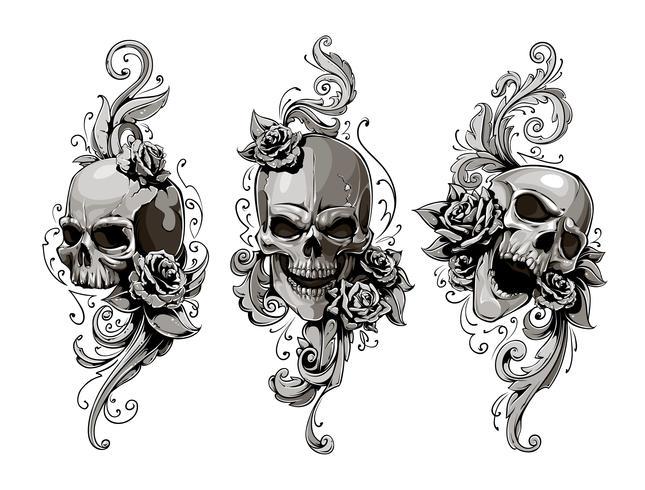 Crânios com padrões florais