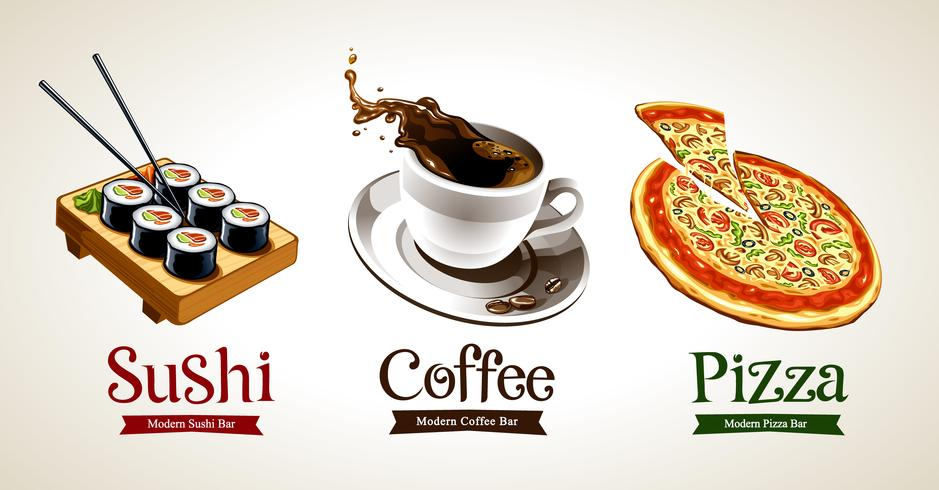 Sushi, coffee and pizza isolated on white