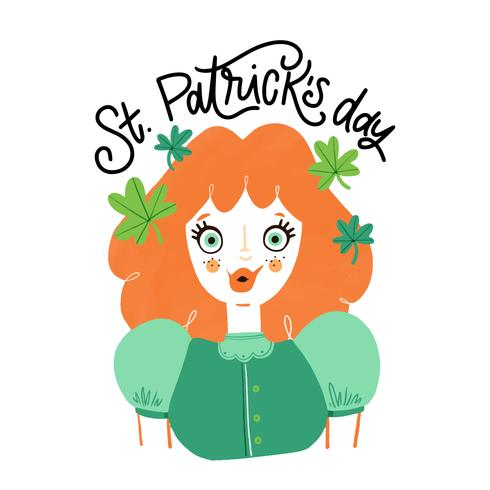 Cute Irish Girl With Orange Hair And Green Eyes, Clovers Around And Lettering