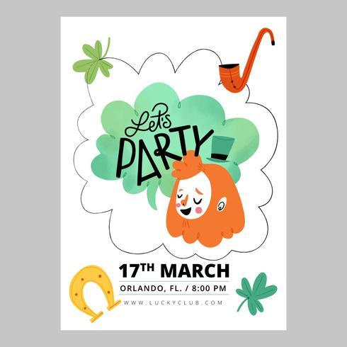 Flyer el día de San Patricio con carácter irlandés, tréboles, pipa y herradura