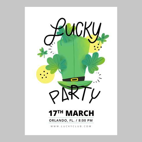Flyer du jour de la St Patrick avec un chapeau, des trèfles et des lettres vecteur
