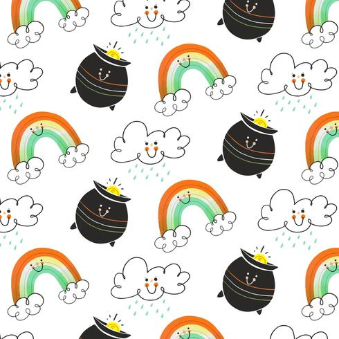 Gulligt irländsk mönster med moln, irländsk kruka och regnbåge tecken